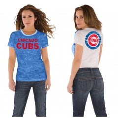 Chicago Cubs Ladies Superfan Sheer Burnout Premium T-shirt - Pro Jersey Sports