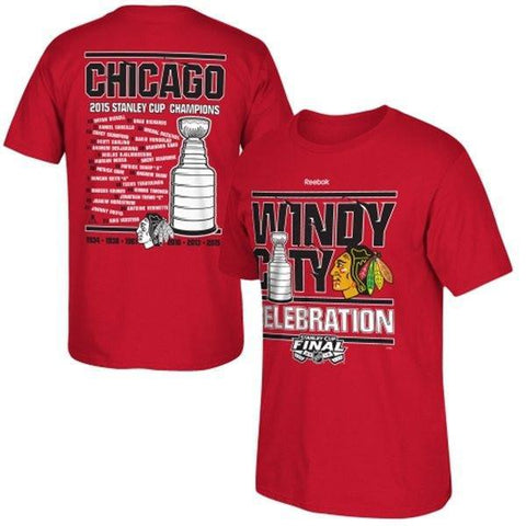 Men's Chicago Blackhawks Reebok Red 2015 Stanley Cup Champions Celebration Roster T-Shirt