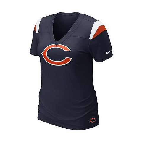 Nike Chicago Bears Women's Fashion V-Neck Heather T-Shirt - Pro Jersey Sports - 1