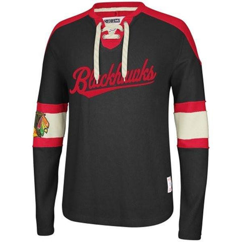 Reebok Chicago Blackhawks CCM Knit Sweatshirt - Black
