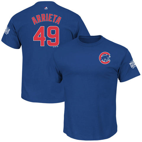Men's Chicago Cubs Jake Arrieta Majestic Royal 2016 World Series Bound Name & Number T-Shirt