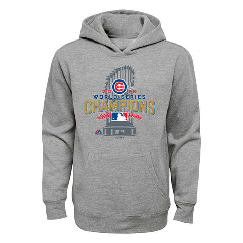 Child's Chicago Cubs Majestic Heathered Gray 2016 World Series Champions Locker Room Pullover Hoodie
