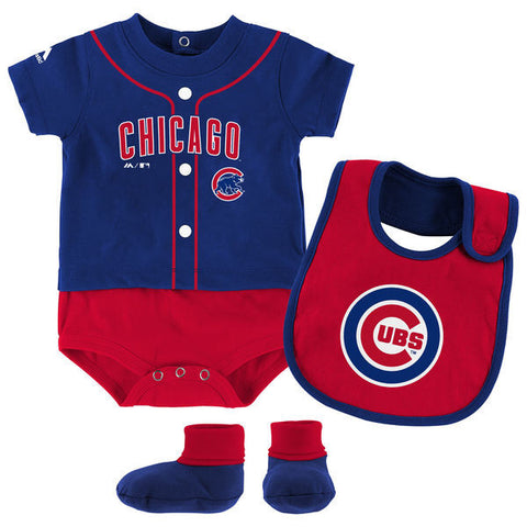 Infant Chicago Cubs Majestic Royal Tiny Player Bib, Boodie & Bodysuit Set