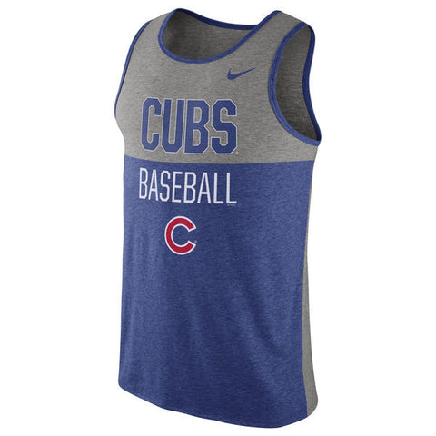 Men's Chicago Cubs Nike Royal Tri-Blend Tank Top - Pro Jersey Sports - 1