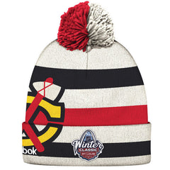 Men's Chicago Blackhawks Reebok White 2017 Winter Classic Players Cuffed Pom Knit Hat