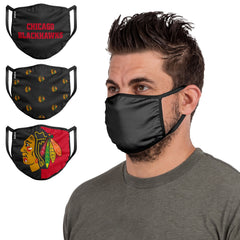 Adult Chicago Blackhawks FOCO Face Mask 3-Pack