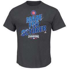 Men's Chicago Cubs Majestic Charcoal 2016 NL Central Division Champions Made for October Locker Room T-Shirt