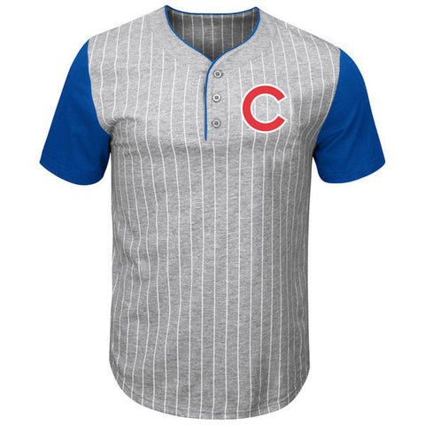 Men's Chicago Cubs Majestic Gray/Royal Life Or Death Pinstripe Henley T-Shirt