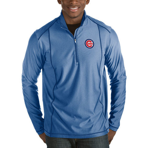 Men's Chicago Cubs Antigua Heathered Royal Tempo Half-Zip Pullover Jacket