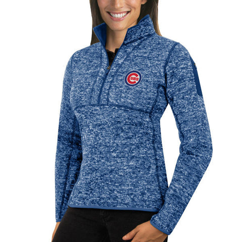 Women's Chicago Cubs Antigua Heathered Royal Fortune Half-Zip Pullover Sweater