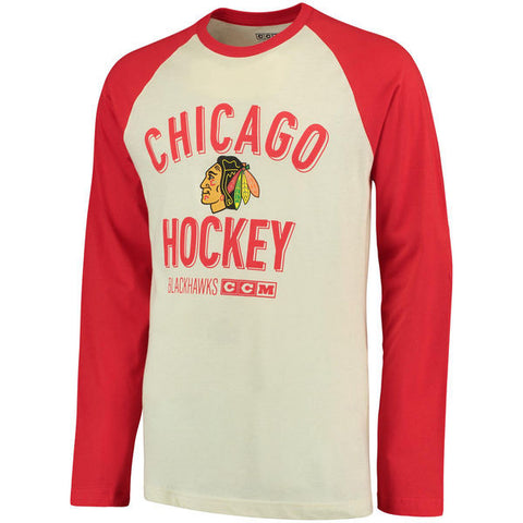 Men's Chicago Blackhawks CCM Cream/Red Team Logo Tri-Blend Raglan Long Sleeve T-Shirt
