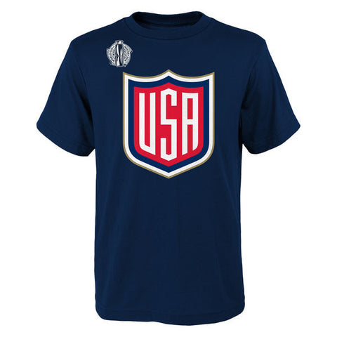 Youth USA Hockey Primary Logo adidas Navy World Cup of Hockey 2016 T-Shirt