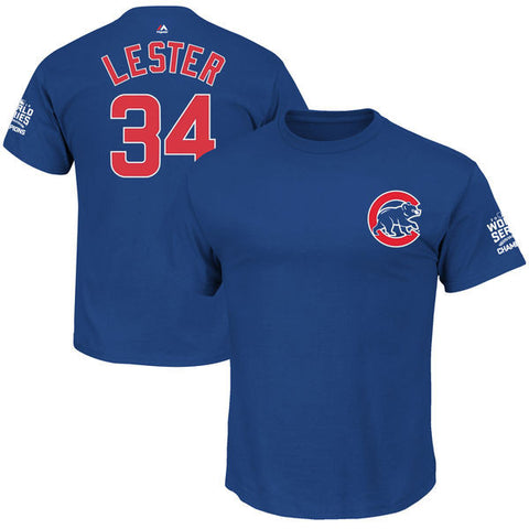 Men's Chicago John Lester Russell Majestic Royal 2016 World Series Champions Name & Number T-Shirt