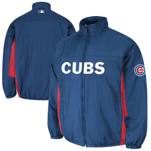 Mens Chicago Cubs Majestic Royal Blue Authentic On-Field Double Climate Full Zip Jacket