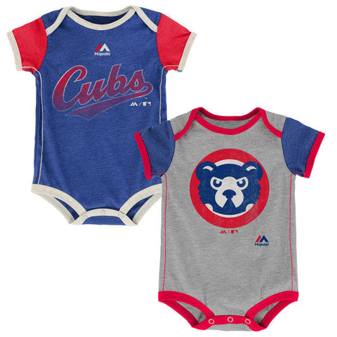 Newborn & Infant Chicago Cubs Majestic Royal/Gray Vintage 2-Piece Bodysuit Set