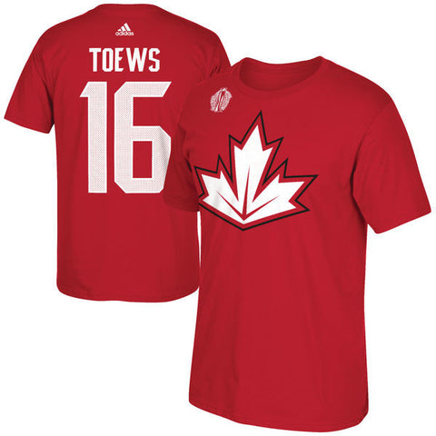 Youth Canada Hockey Jonathan Toews adidas Red World Cup of Hockey 2016 Replica Name & Number T-Shirt