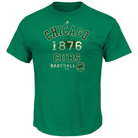 Men's Chicago Cubs Majestic Kelly Green Dugout Vintage Celtic T-Shirt - Pro Jersey Sports