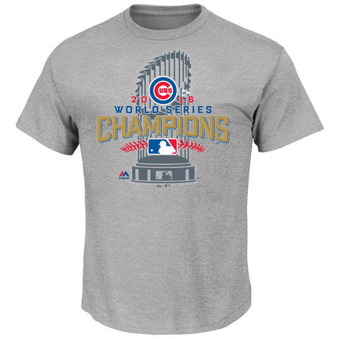 Youth Chicago Cubs Majestic Gray 2016 World Series Champions Locker Room T-Shirt - Pro Jersey Sports