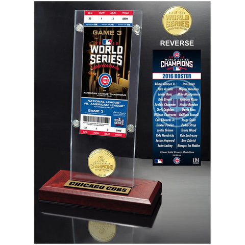 Chicago Cubs 2016 World Series Champions Ticket & Bronze Mint Coin Acrylic Desk Top - Pro Jersey Sports
