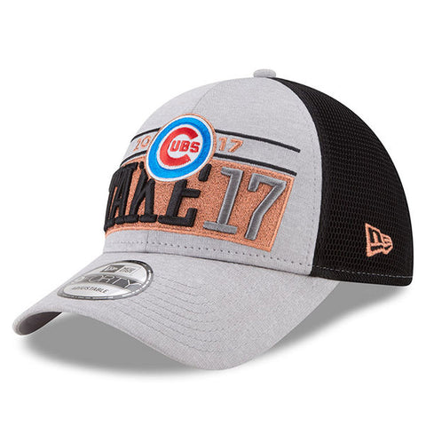 Men's Chicago Cubs New Era TAKE 17 Gray 2017 Division Series Winner Locker Room 9FORTY Adjustable Hat