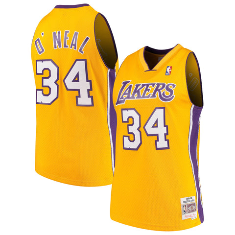 Men's Shaquille O'Neal Los Angeles Lakers 1999-00 Gold Swingman Replica Jersey By Mitchell & Ness