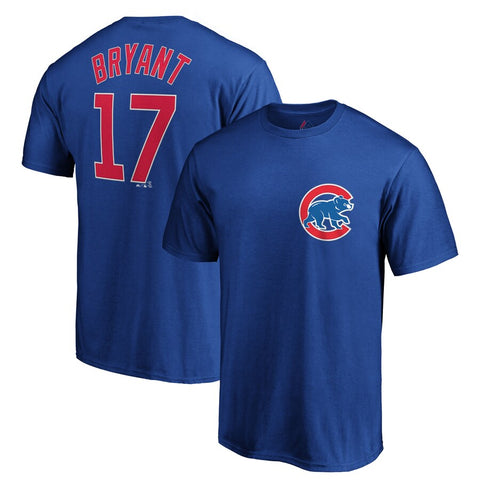 Men's Chicago Cubs Kris Bryant Royal Official Name and Number T-Shirt