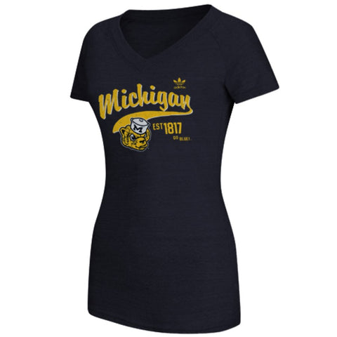 adidas Michigan Wolverines Womens Fearless Tri-blend V-Neck T-Shirt - Navy Blue