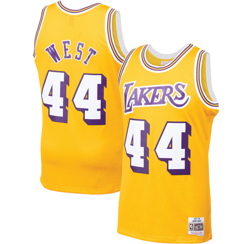 Mens Jerry West Los Angeles Lakers Mitchell & Ness Gold 1971-72 Hardwood Classics Swingman Jersey