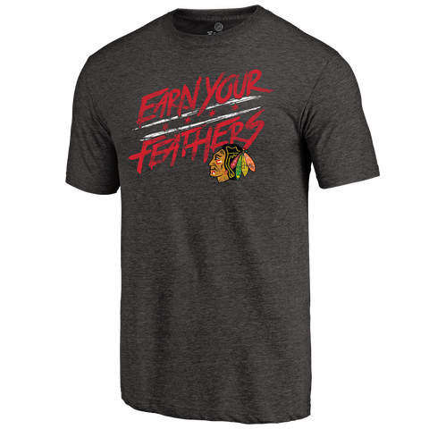Men's Chicago Blackhawks Rinkside Charcoal Hometown Collection Earn Your Feathers Tri Blend T-Shirt