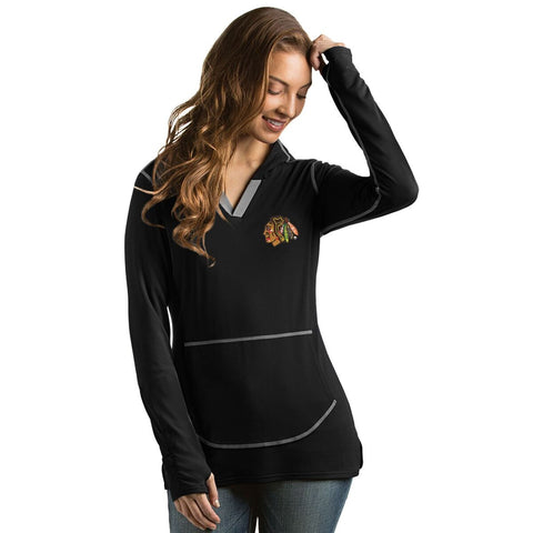 Women's Chicago Blackhawks Move Pullover Hooded Fleece, Black-Antigua - Pro Jersey Sports
