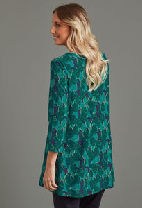 Adele Montague Print Tunic in Green - Renaissance Boutiques Ireland