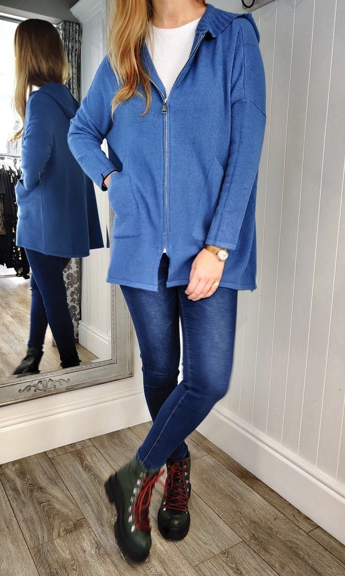 Anna Oversize Long Zip Up Hoodie in Denim Blue - Renaissance Boutiques Ireland