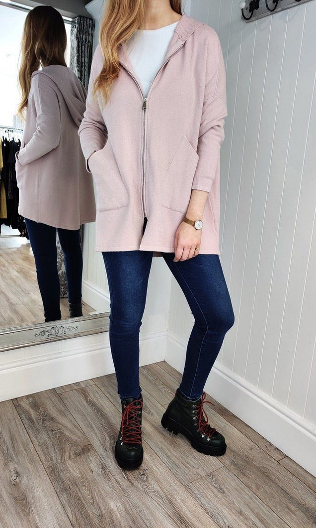 Anna Oversize Long Zip Up Hoodie in Dusty Pink - Renaissance Boutiques Ireland