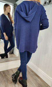 Anna Oversize Long Zip Up Hoodie in Navy - Renaissance Boutiques Ireland