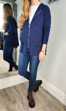 Load image into Gallery viewer, Anna Oversize Long Zip Up Hoodie in Navy - Renaissance Boutiques Ireland