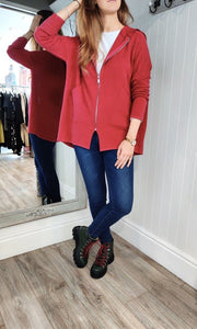 Anna Oversize Long Zip Up Hoodie in Red - Renaissance Boutiques Ireland