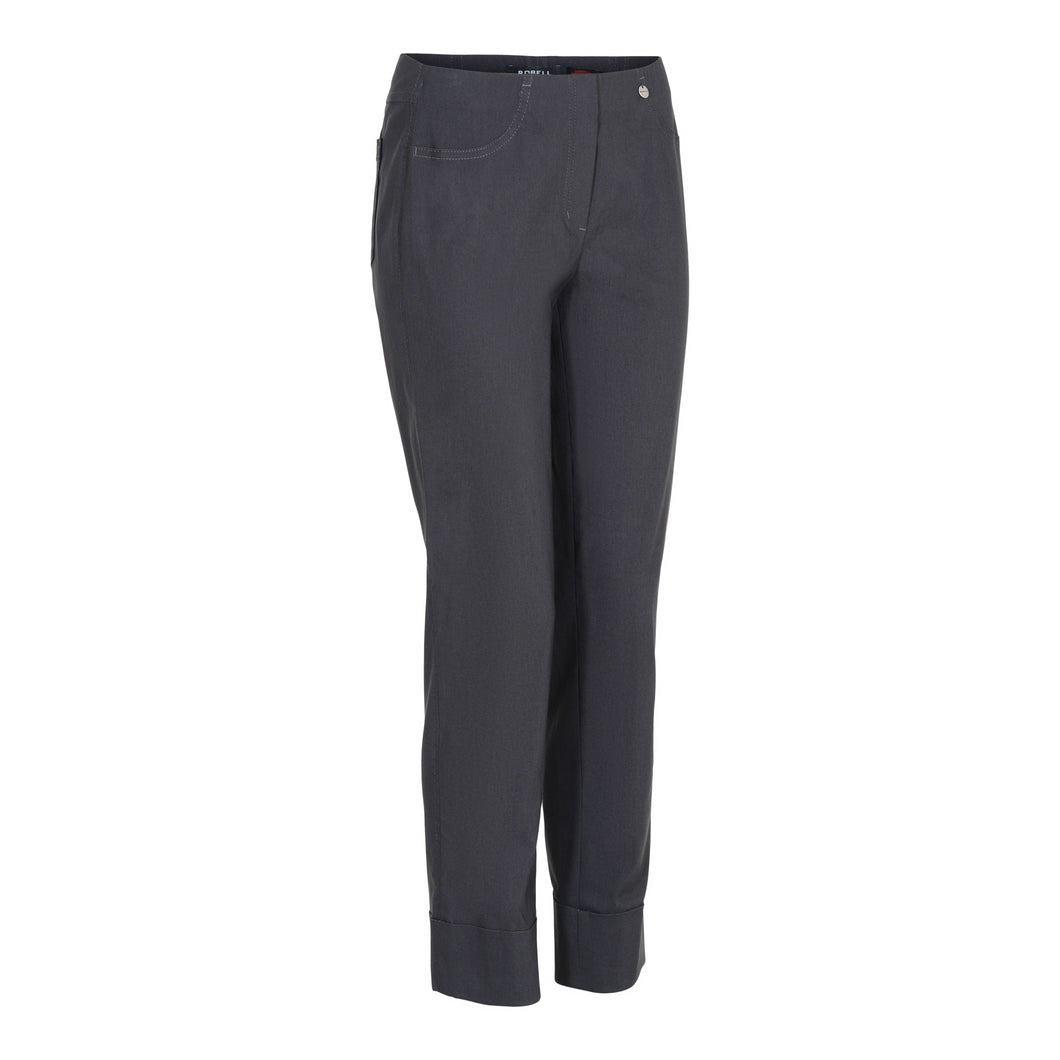 Bella Ankle Grazer Trouser with a Cuff in Charcoal Trousers Robell