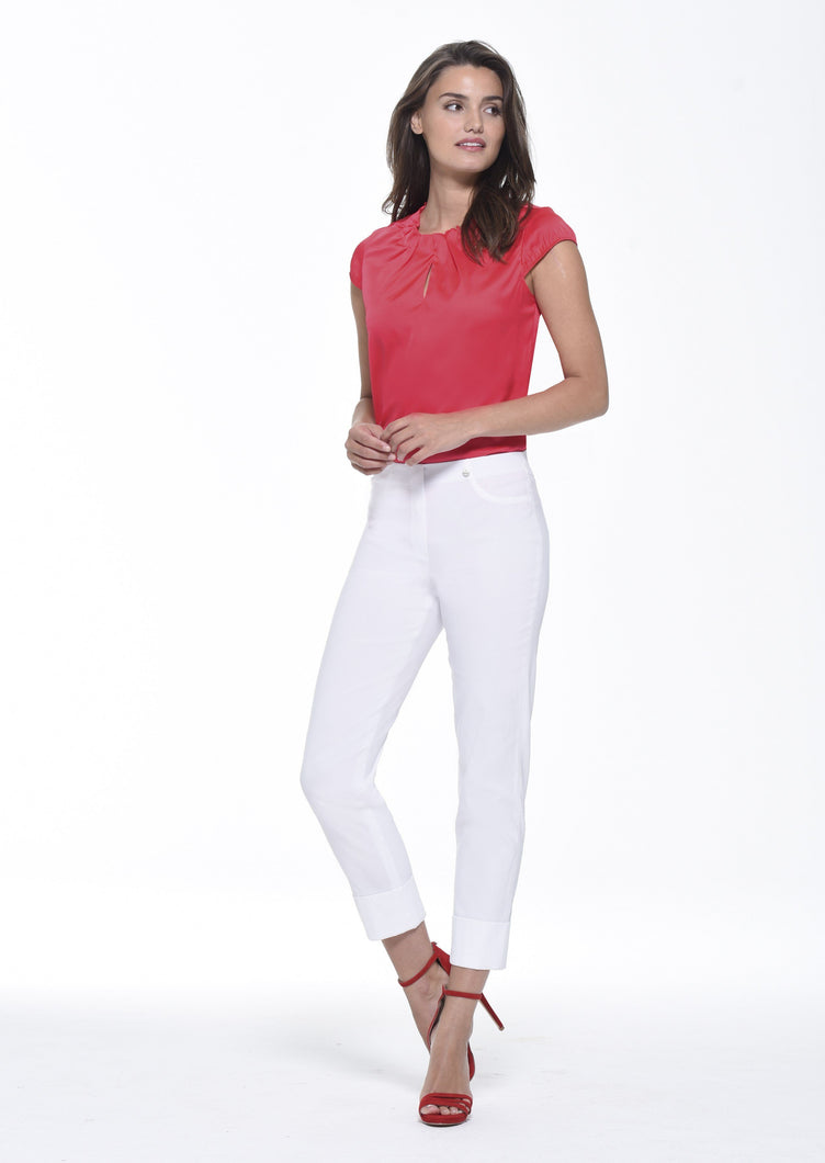 Bella Ankle Grazer Trouser with a Cuff in White Trousers Robell