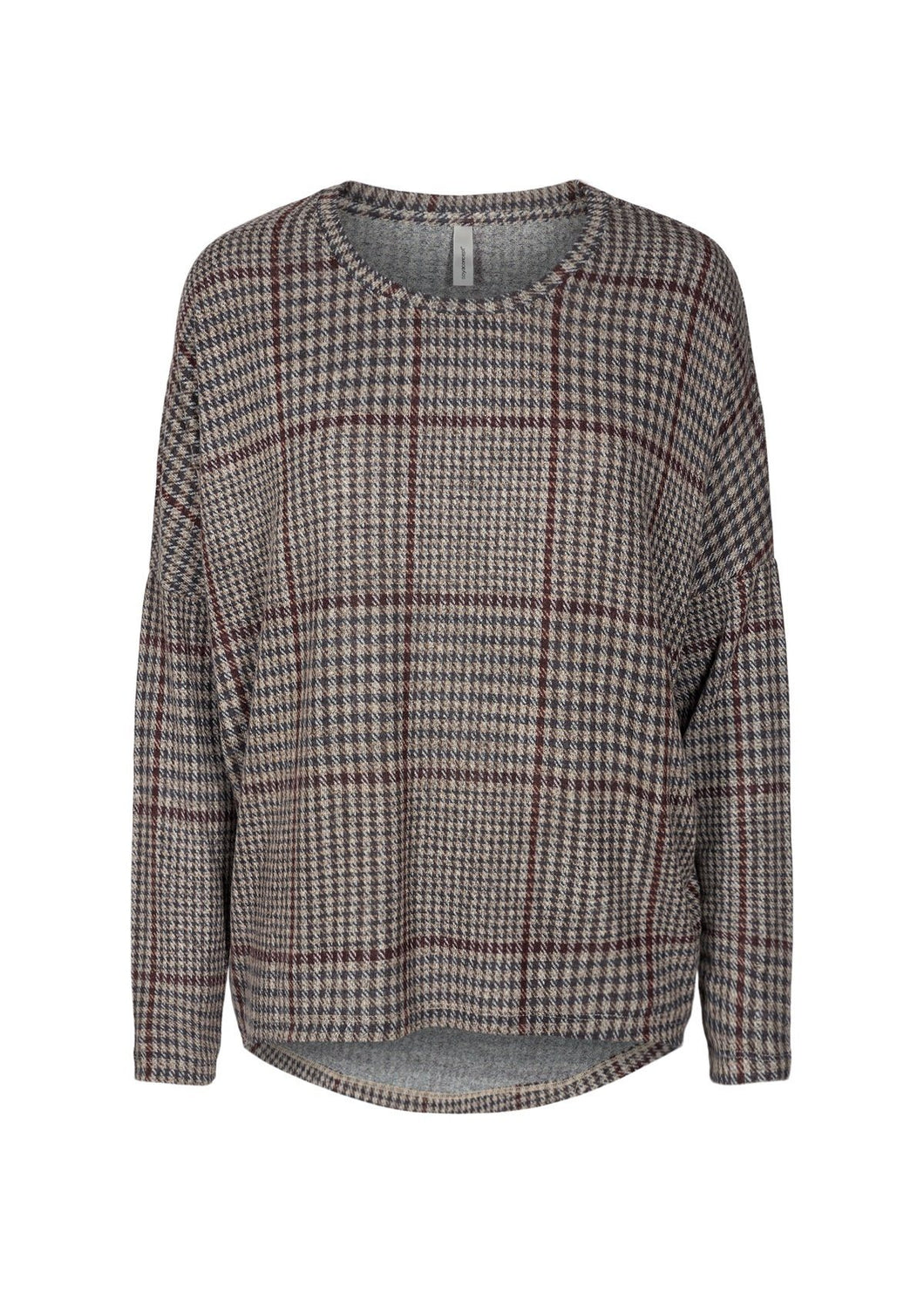 Biara Plaid Top with Maroon Stripe - Renaissance Boutiques Ireland