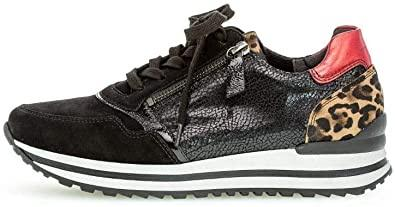 Black Leather Trainer with Leopard Trim - Renaissance Boutiques Ireland