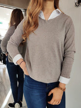 Load image into Gallery viewer, Cara Lightweight V-Neck Knit in Taupe - Renaissance Boutiques Ireland