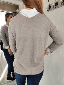 Cara Lightweight V-Neck Knit in Taupe - Renaissance Boutiques Ireland