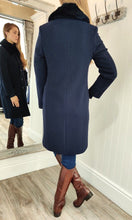 Load image into Gallery viewer, Classic Faux Fur Collar Wool and Cashmere Coat in Navy - Renaissance Boutiques Ireland