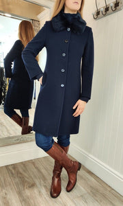 Classic Faux Fur Collar Wool and Cashmere Coat in Navy - Renaissance Boutiques Ireland