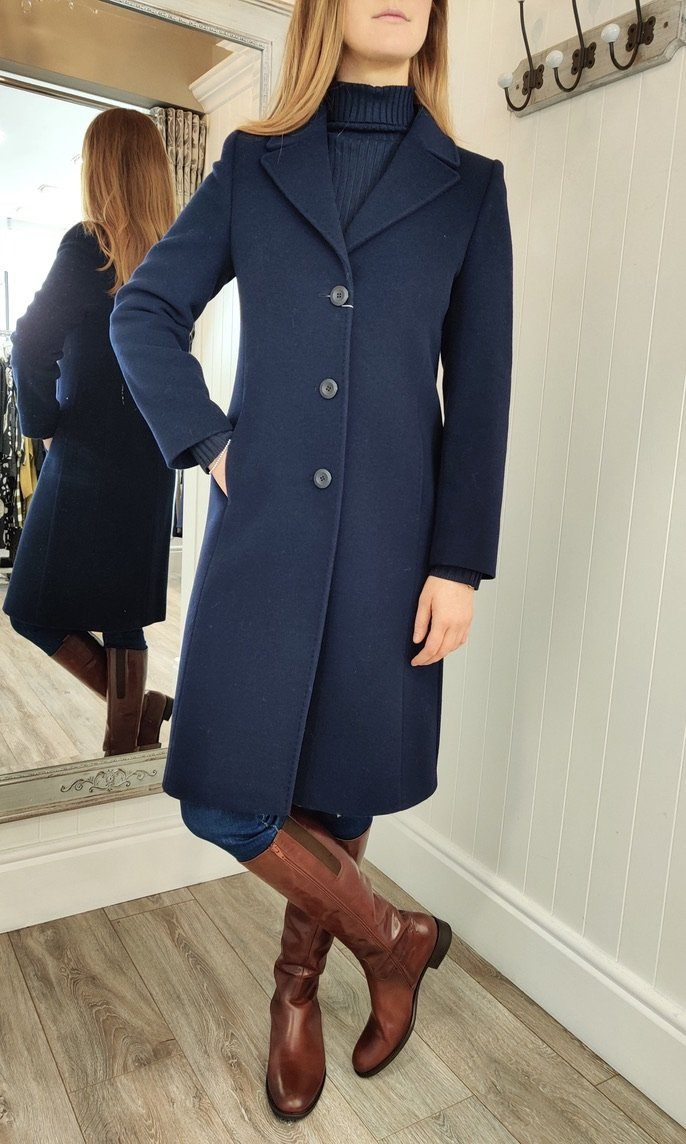 Classic Wool and Cashmere Coat in Navy - Renaissance Boutiques Ireland