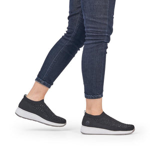 Diamante Slip on Sneaker in Black Sneaker Rieker