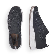 Load image into Gallery viewer, Diamante Slip on Sneaker in Black Sneaker Rieker