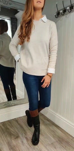 Erin Patch Pocket Crew Neck Knit in Cream - Renaissance Boutiques Ireland