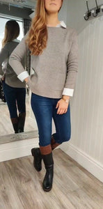 Erin Patch Pocket Crew Neck Knit in Taupe - Renaissance Boutiques Ireland
