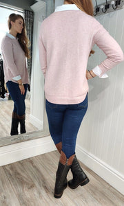 Eva Secret Pocket Crew Neck Knit in Dusty Pink - Renaissance Boutiques Ireland